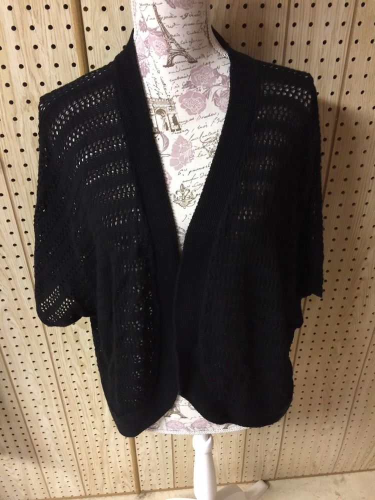 Liz   Me Women s Black Open Knit Sweater Plus Size 2X 2aff476c4