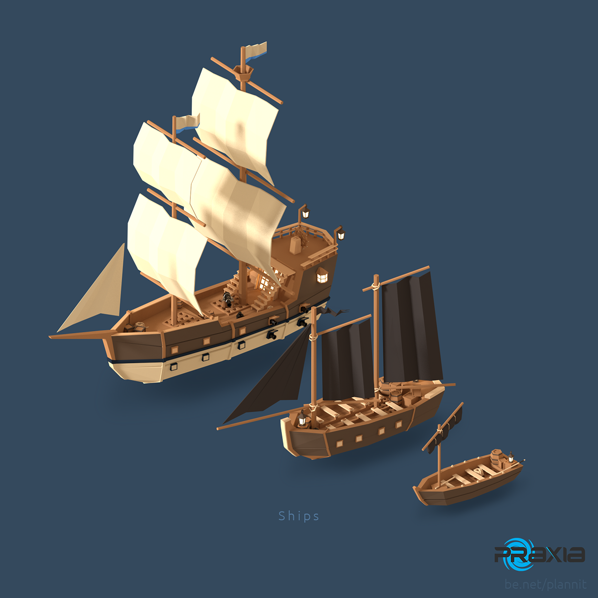 Cartoon Sailing Ship Design Shading Curtain Blackout: Models For A Kickstarter Game «Pirates Of The Polygon Sea