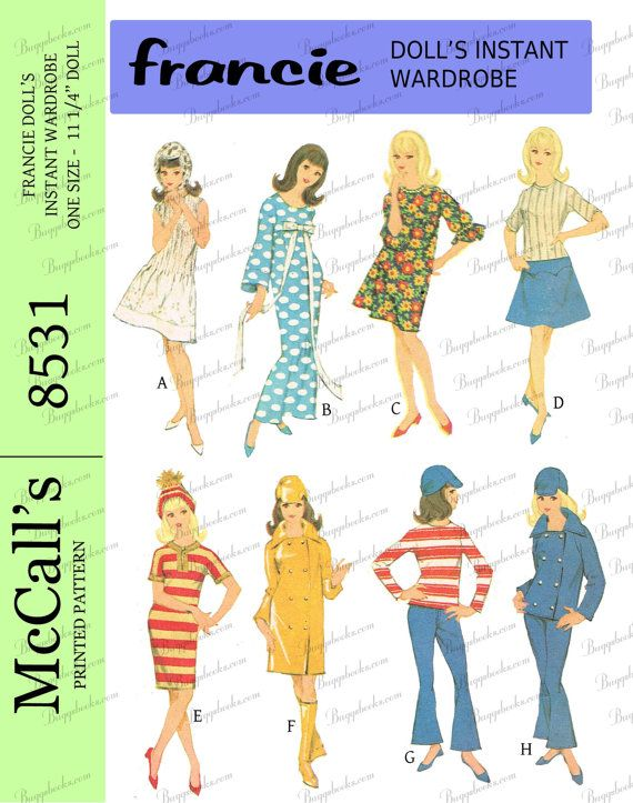 McCalls 8531 - for 11 1/4 inch dolls, francie and other dolls, PDF