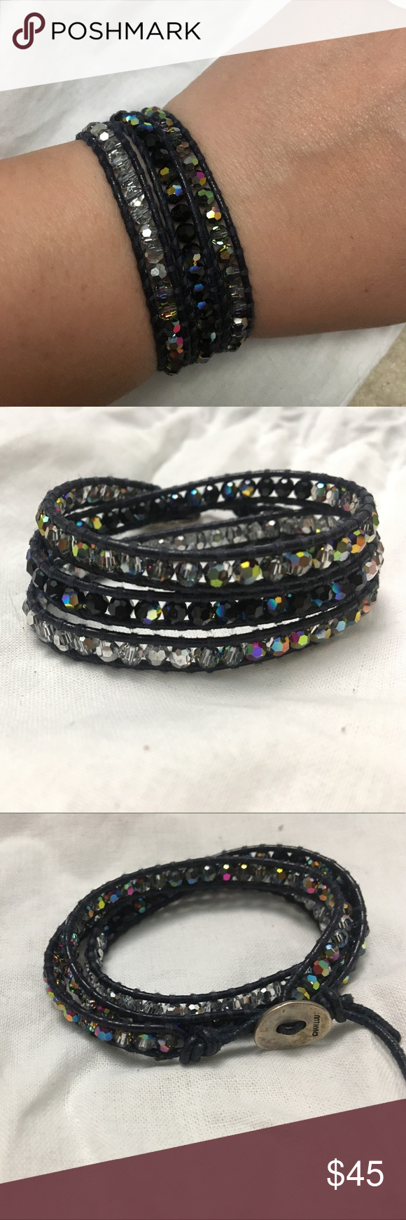 Authentic 3 Wrap Chan Luu Swar. Crystal Bracelet Authentic pre loved for many photoshoots handmade 3 Wrap Chan Luu Swarovski Crystal Bracelet. SS Original Chan Luu Button.       Crystal sections: Crystal AB, Crystal CAL, Jet AB & Crystal AB on black cow leather. Chan Luu Jewelry Bracelets