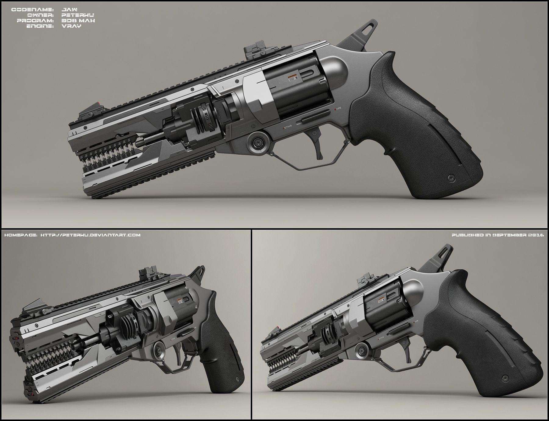 Jaw - concept of sci fi handgun by peterku on DeviantArt