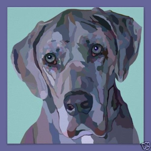 Great Dane Painting Blue Contemporary 12 5 X 12 5 Print Pet