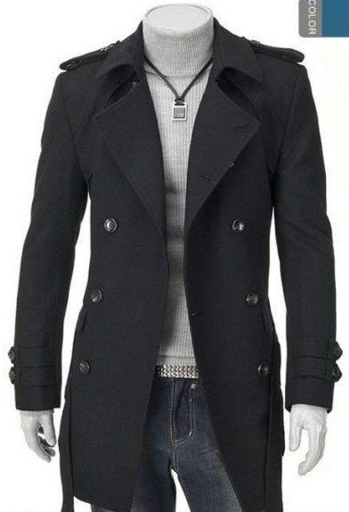 18d715501 Fall Winter New Double-breasted British men s dust coat Slim Wool ...