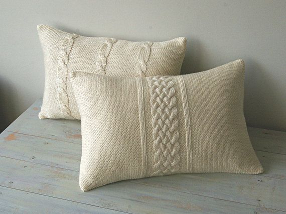 Https Www Etsy Com Listing 124476069 Decorative Cable Knit Pillow Cover In Ref Related 6 Knit Pillow Knitted Cushions