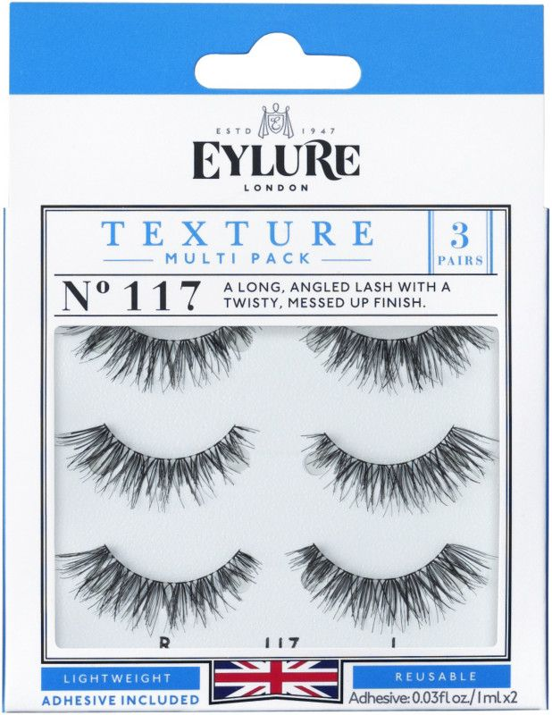 934e0f37abd Eylure's Texture lashes in style No. 117 are a long angled style with a  twisty, messed up finish.