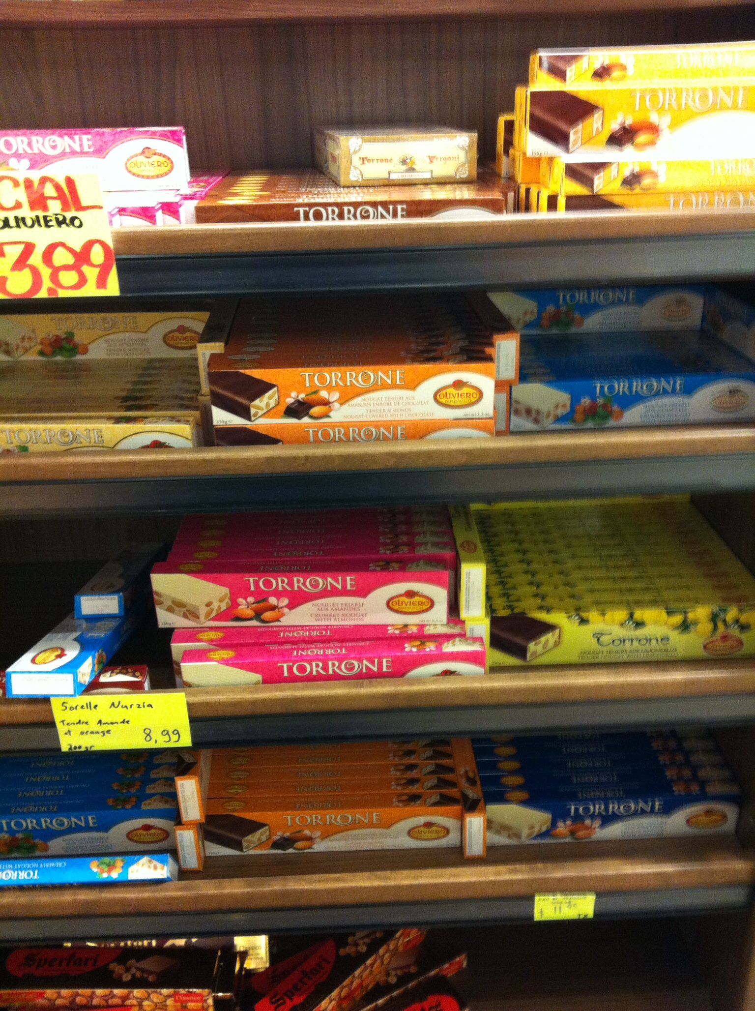 Torrone display at Milano in Little Italy, Montreal. I lose all sense of restraint at the sight of glorious nougat.