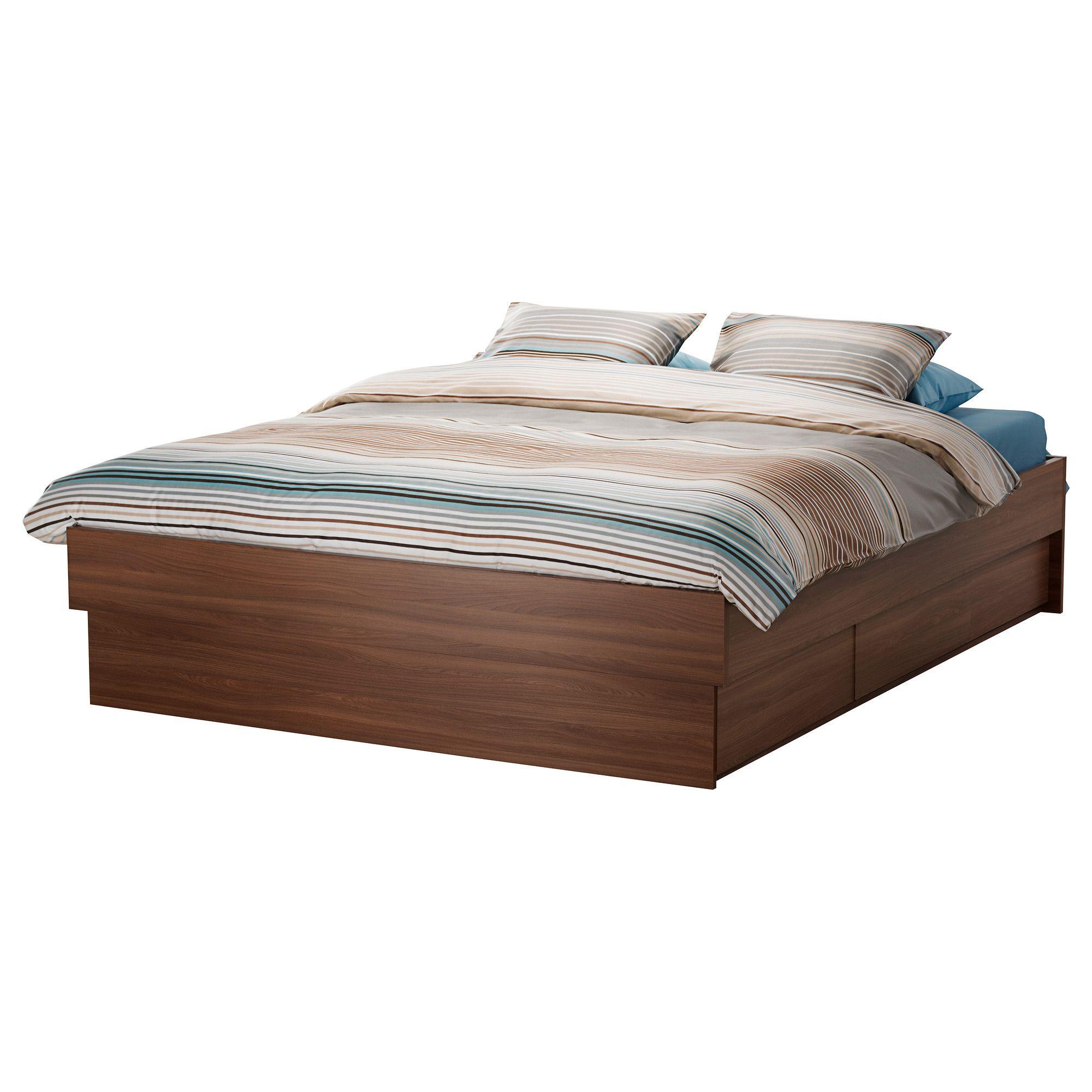 OPPDAL Lit avec rangement - brun moyen, Grand deux places - IKEA ...