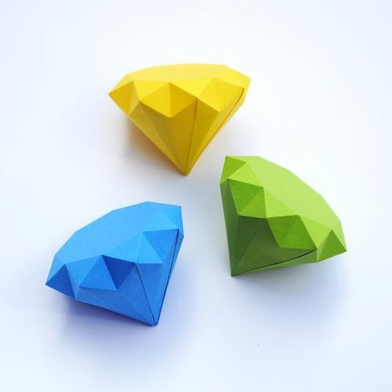 大人向けの可愛い折り紙 インテリアに使える 立体ダイヤモンド の折り方 Crasia クラシア Paper Diamond Origami Diamond Paper Toy Printable