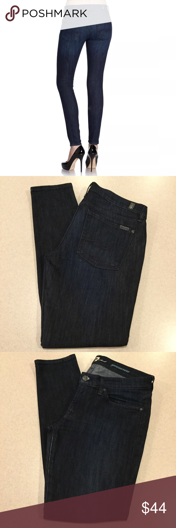 7 For All Mankind Jeans 31X31 Gwenevere Skinny! 7 for all mankind women's jeans  Gwenevere skinny Lake Hollywood wash Size 31 31 inch skinny inseam (hits at bottom of ankle as shown in modeled pictures) Modeled pictures are of exact fit and wash! Beautiful dark vibrant blue wash with nice light fading Great preowned condition, no flaws! Retailed for $189.00  All of my items come from a smoke free, pet free home and are authenticity guaranteed! Please ask any questions and reasonable offers…