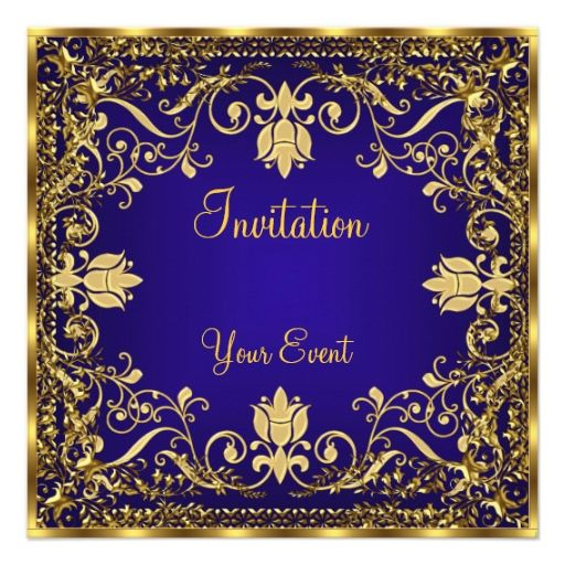 Elegant vintage Royal Blue Gold Invitation Gold invitations, 30th - best of invitation text adalah