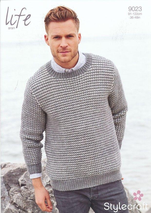 Man\'s Textured Sweater in Life Aran (9023) | Mens Knitting Patterns ...