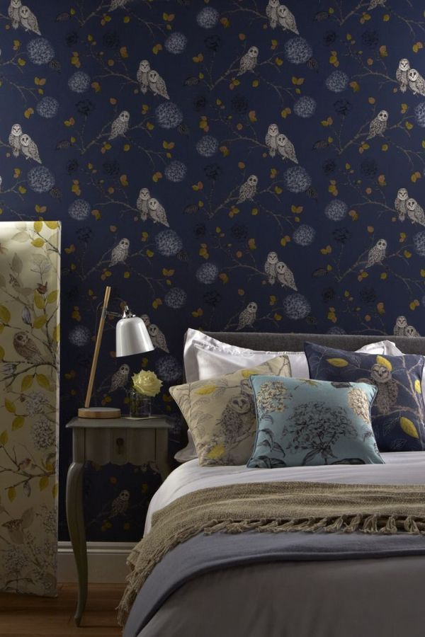 Night Owl Wallpaper Design By Arthouse Blue Wallpaper Bedroom