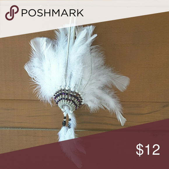 Small 6 inch Indian headdress Doll sized White Indian headdress none  Other