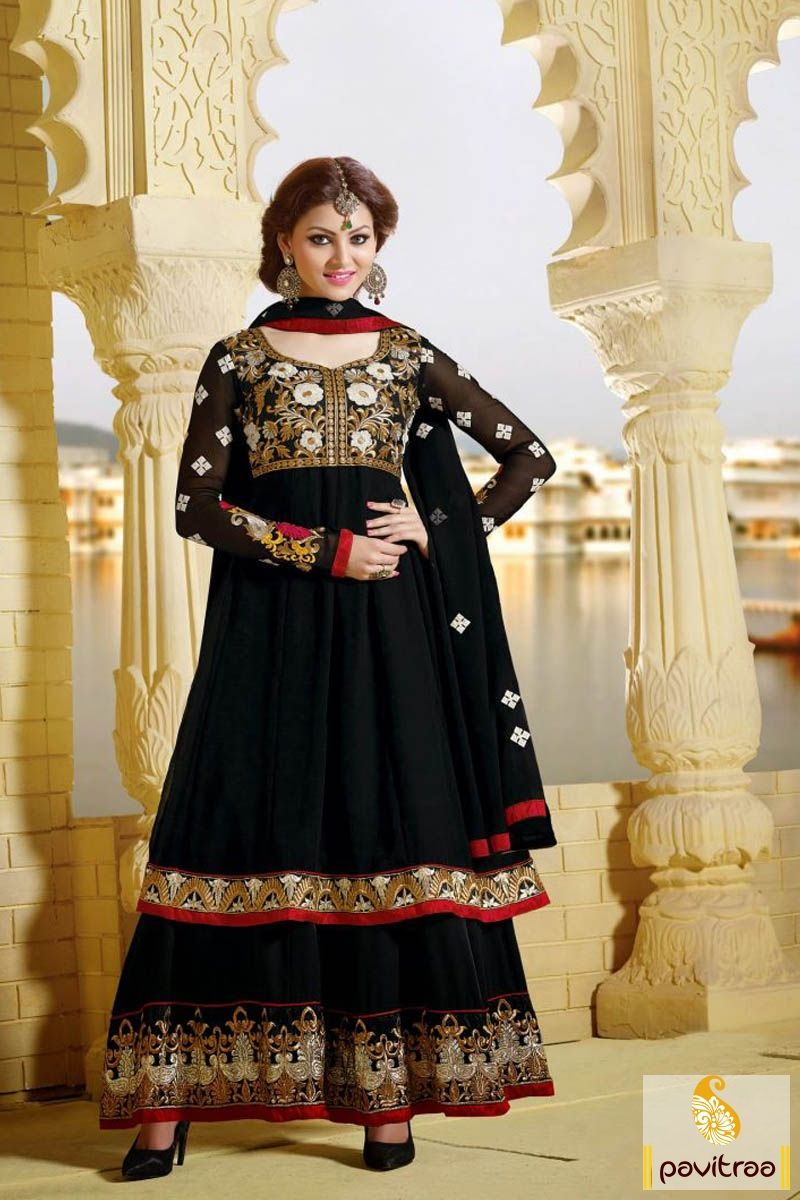 Pavitraa indian designer black long bridal salwar suit