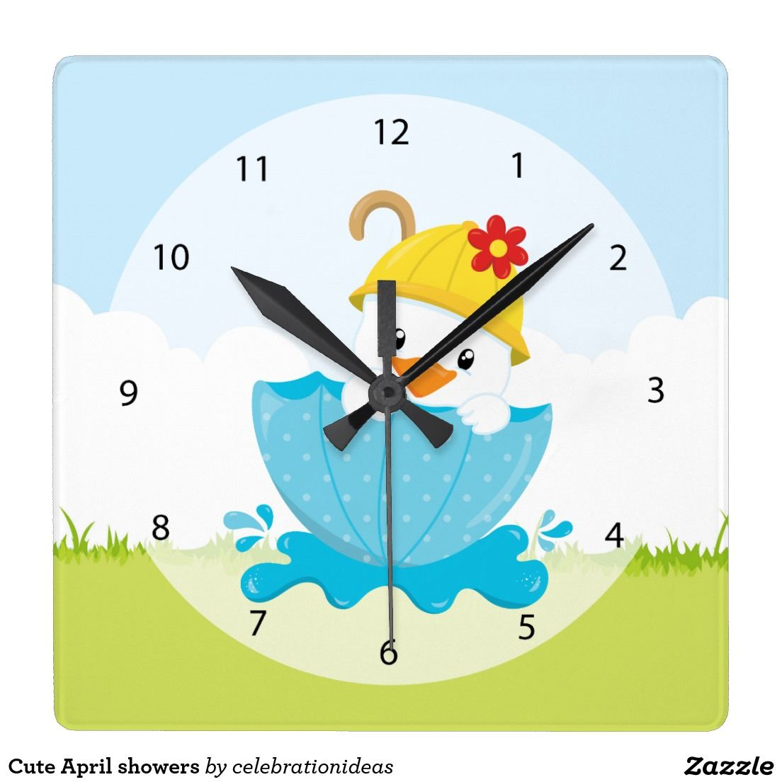 Cute #Aprilshowers #WallClocks #duck #nurseryroom Available in different products. Check more at www.zazzle.com/celebrationideas