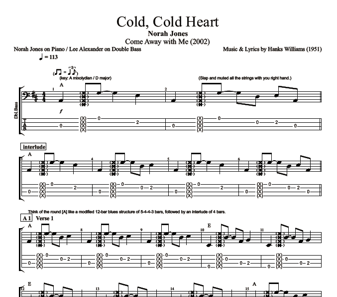Cold Cold Heart By Norah Jones Piano Bass Sheet Music Tab