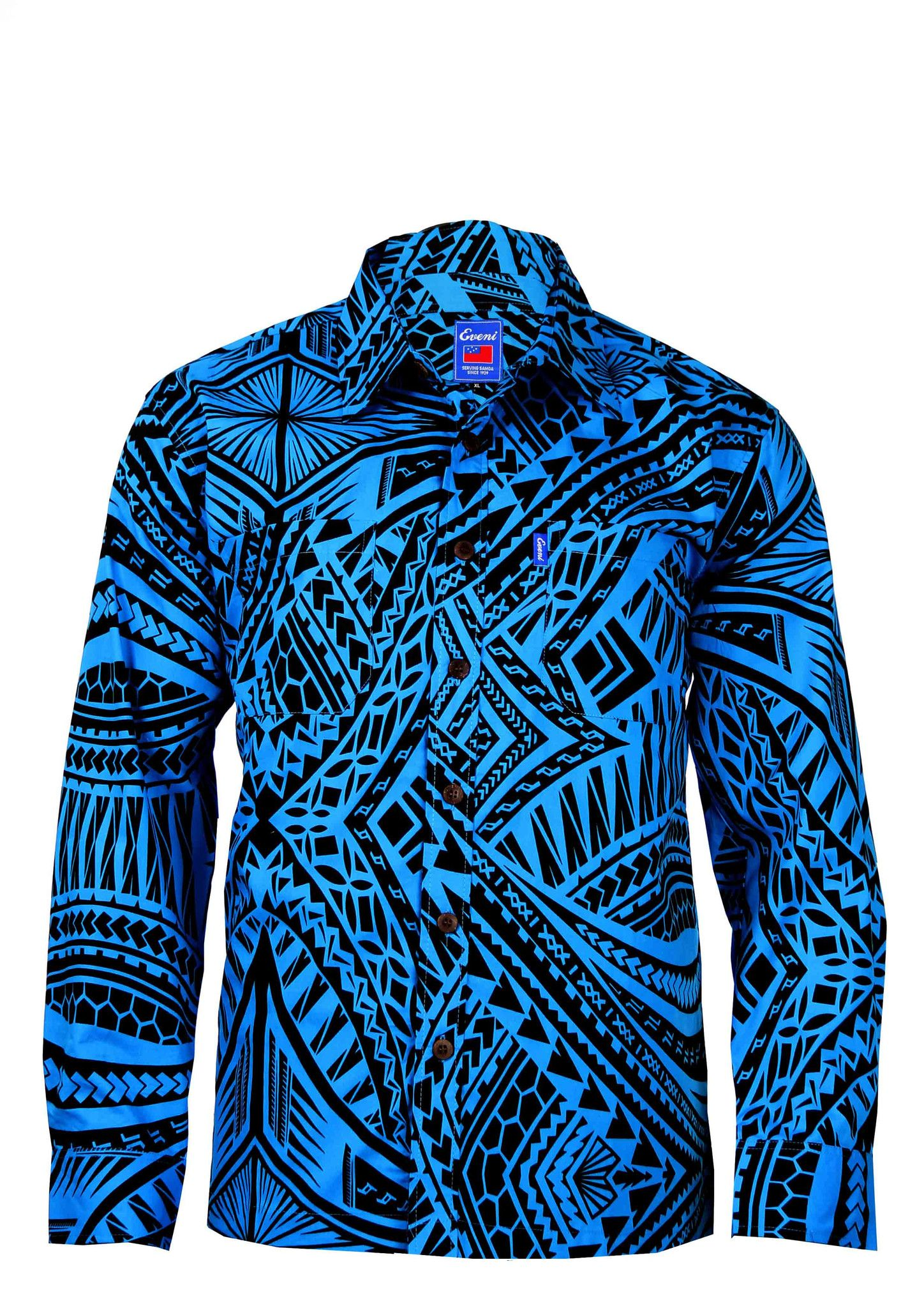 Mens Long Sleeve Elei Shirt Eveni Pacific Traditional Wear For