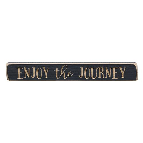 Enjoy The Journey Engraved Inspirational Country Sign Block Distressed