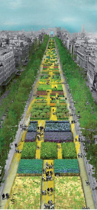 Via Blog de Paris  A Champs Elysées, mais bela avenida do mundo, se transformou em um imenso jardim.