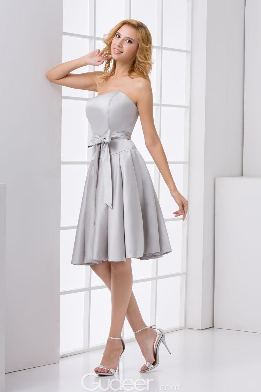 Strapless silver satin knee length a line bridesmaid dress for Silver satin wedding dress