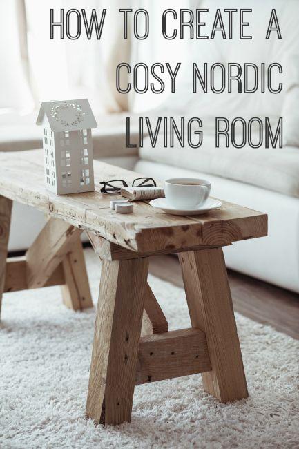 Me encanta el banco de madera en el salón // How to create a cosy Nordic or Scandinavian living room including how to shop for the look on eBay