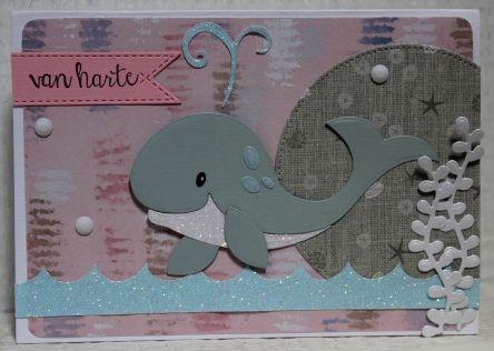 Gemaakt door Joke # Kinderkaart met walvis, voor Thirza - 6 jaar