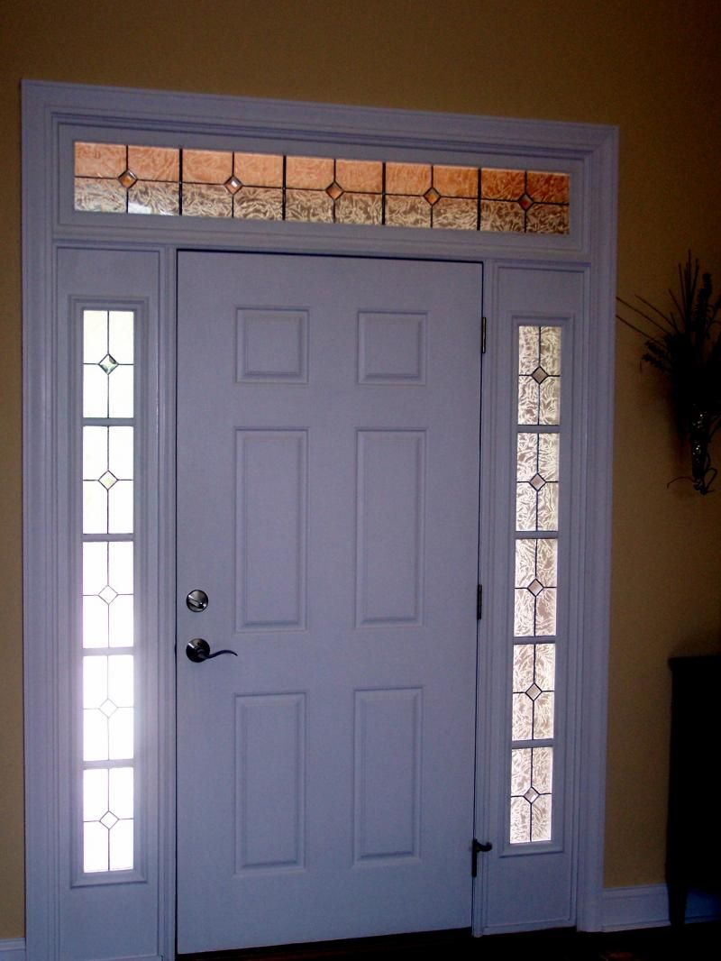 Simple Stained Glass Transom And Sidelights Front Doors With
