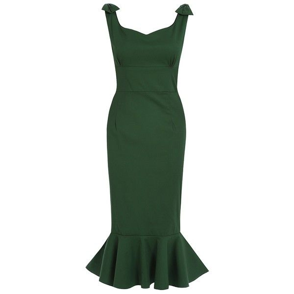 'Ariel' Green Fishtail Wiggle Dress (€45) ❤ liked on Polyvore featuring dresses, green, sweetheart neckline dress, trumpet dress, green dress, green pencil dress and sweetheart cocktail dress