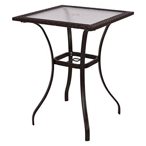 Mix Brown Patio Square Pe Rattan Bar Table Glass Top 37 Height Glass Table Glass Top Table Patio Furniture Sets