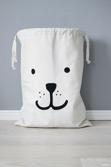 Bear Face Fabric Starage Bag - Tellkiddo | Nubie - Modern Baby Boutique