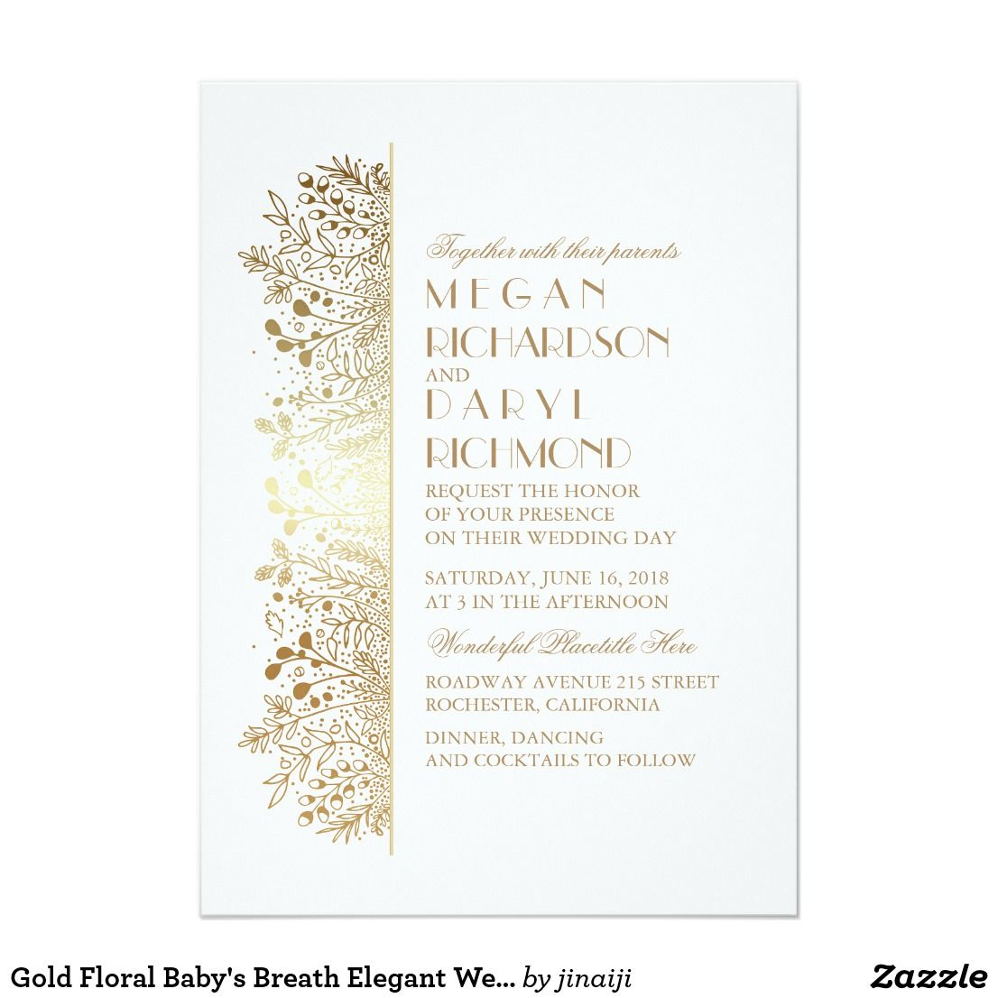 Gold Floral Baby S Breath Elegant Wedding Card Wedding Card