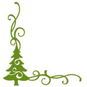 Christmas Tree Flourish Corner Border Silhouettes