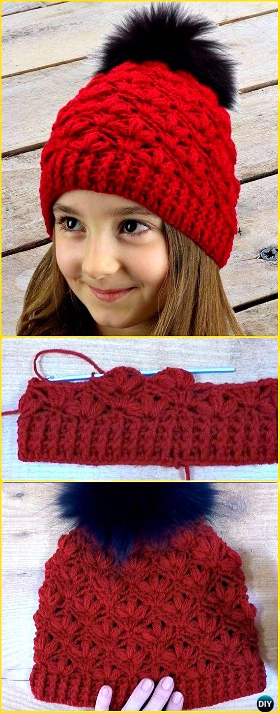 Crochet Puff Flower Beanie Hat Free Pattern Video - Crochet Beanie ...