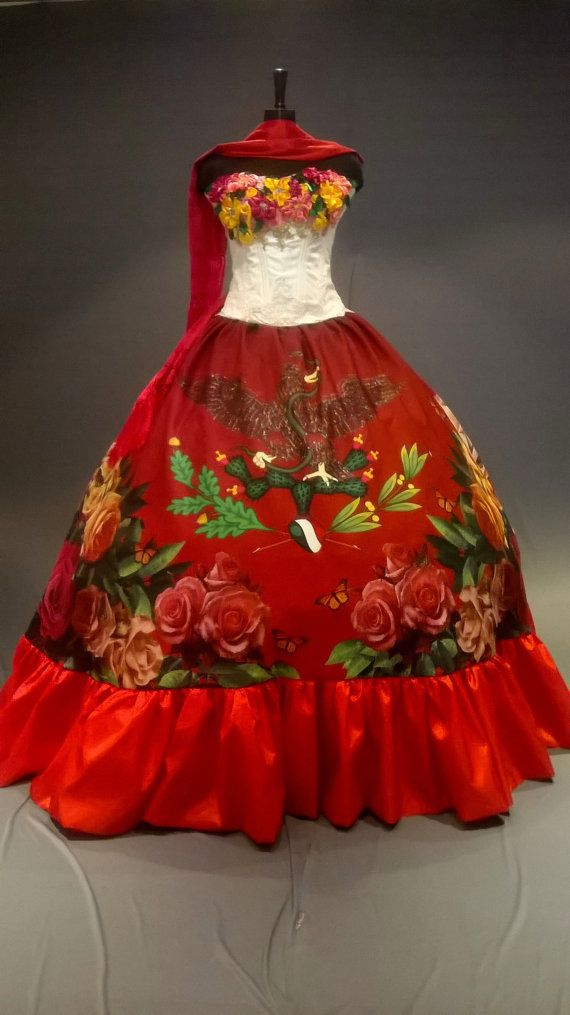 5a49139f2ccf Mexican Quinceañera Dress. Frida Kahlo Inspired Ball Gown. Mexican Fiesta  Dress. Mexican quinceane