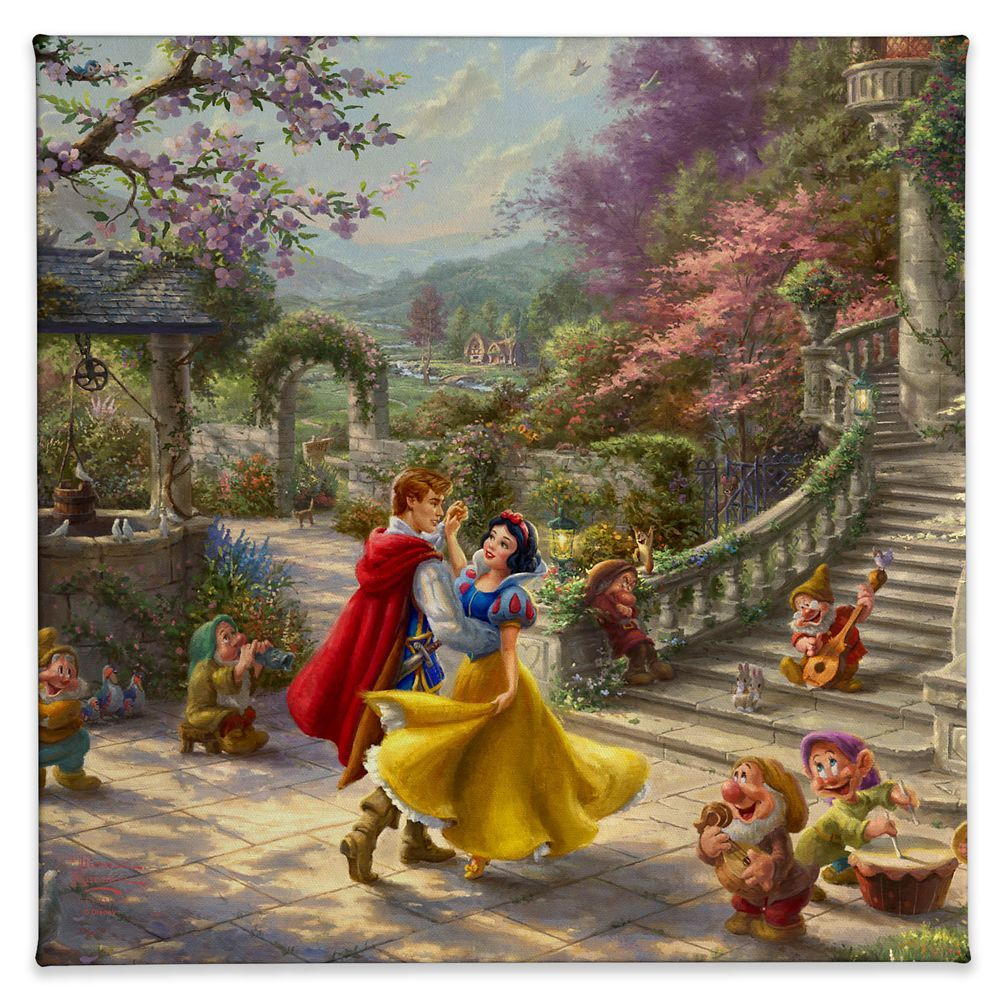Walt Disney's original animated fairytale, Snow White and the Seven Dwarfs, has been recreated in this vibrantly colorful painting by Thomas Kinkade Studios. The romantic scene takes place in the courtyard of the kingdom's castle and features Snow White dancing with the Prince as she and her little friends celebrate the defeat of the wicked Queen and the reuniting of true love.