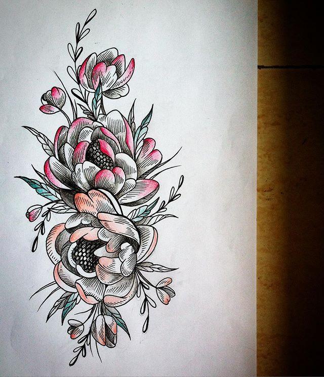 Эскизы тату цветы пионы