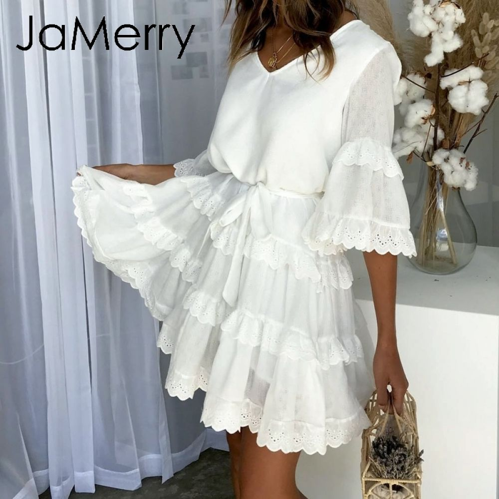 859d4129fd701 JaMerry Vintage ruffled embroidery white lace dress women Flare ...
