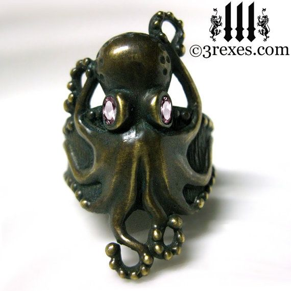 Octopus Ring Antiqued Dark Brass Gothic Pink CZ by 3RexesJewelry, $88.00