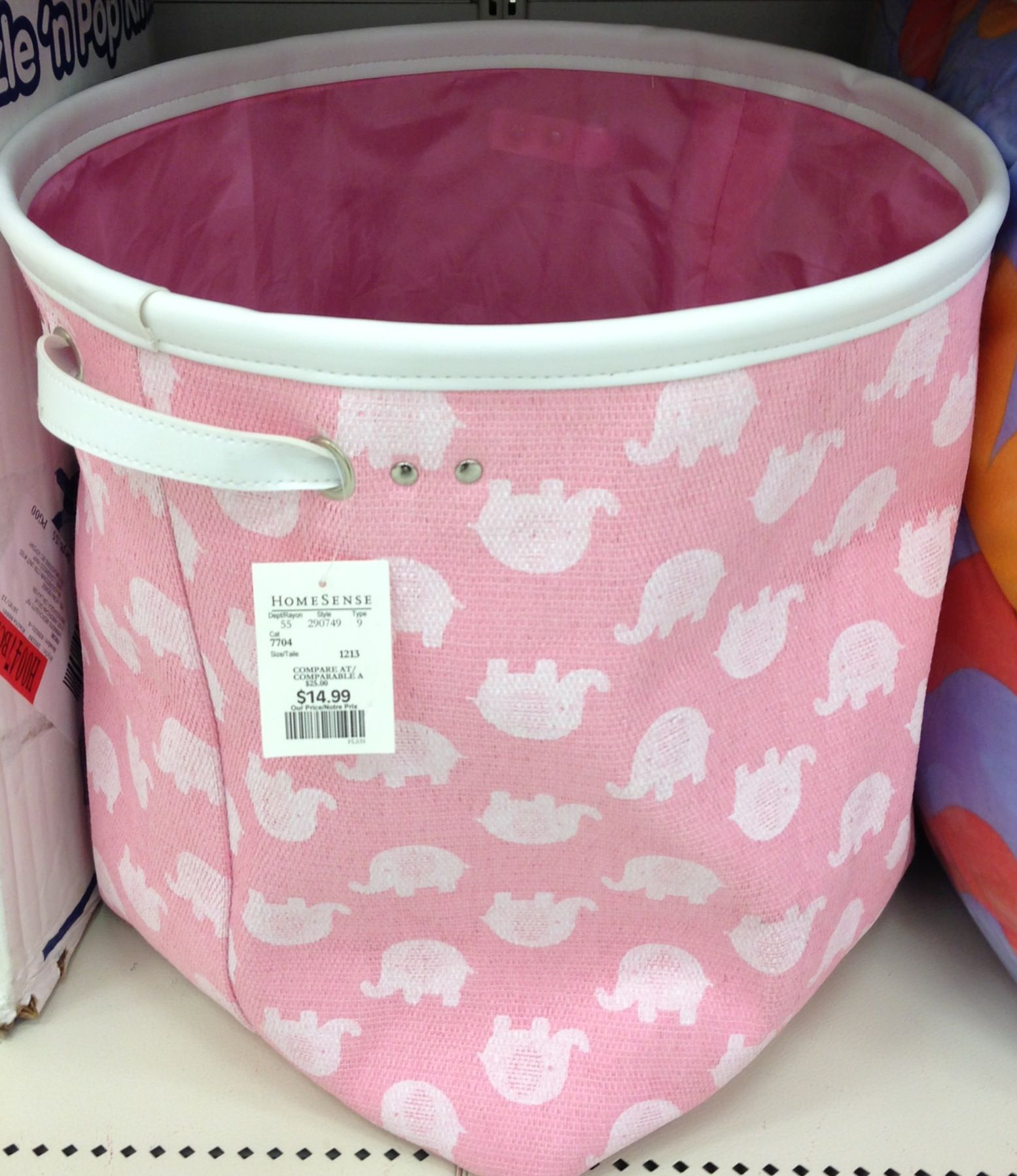 Baby Nursery Pink Elephant Laundry Hamper Home Sense