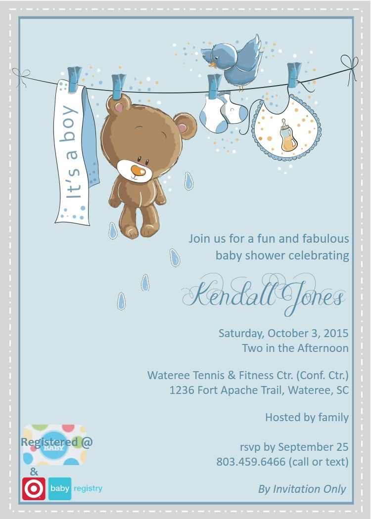 Created By Bg Designs Teddy Bear Baby Shower Invitation