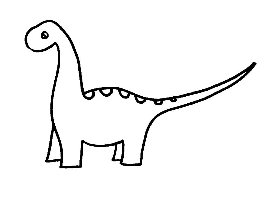 Line Art Easy : Simple drawing of a dinosaur line