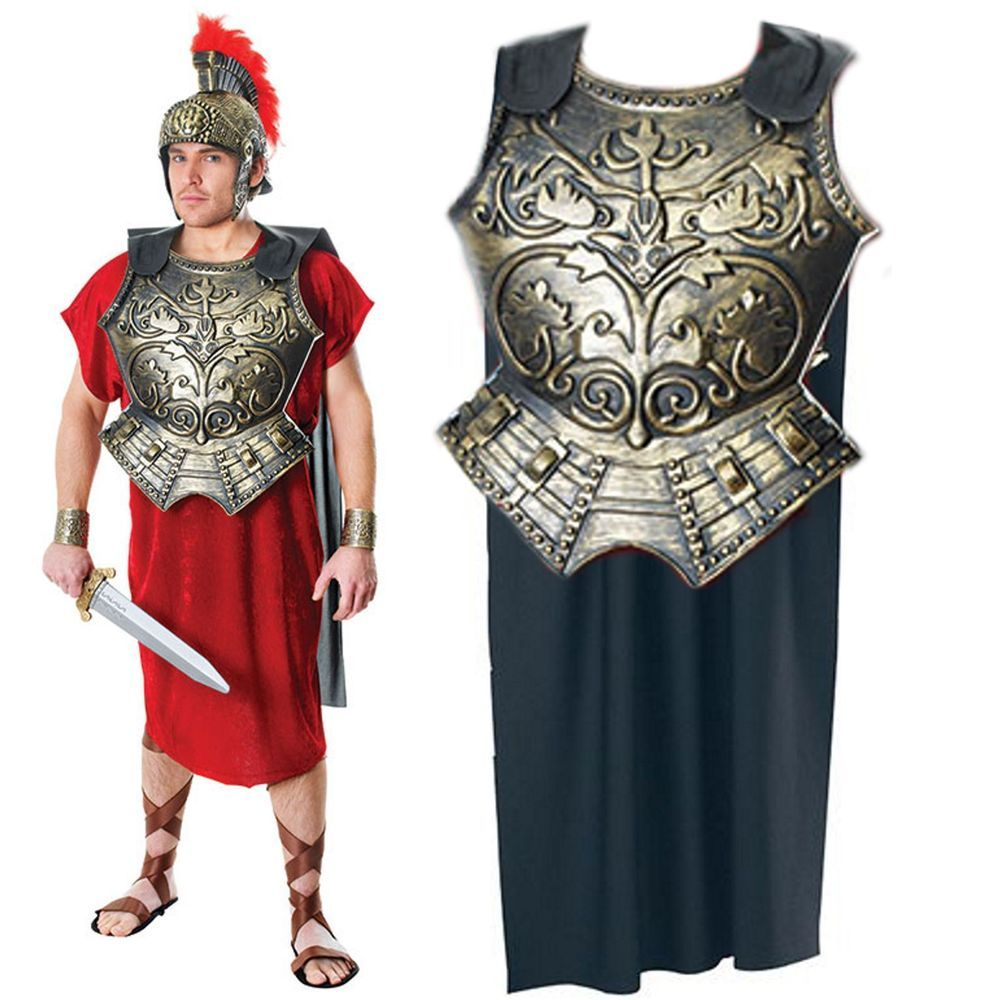 Adult Mens Roman Gladiator Costume Greek Soldier Warrior Fancy Dress Stag Party