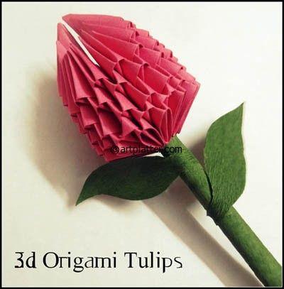 3D Origami Tulip - Tutorial • Art Platter | Paper Craft ...