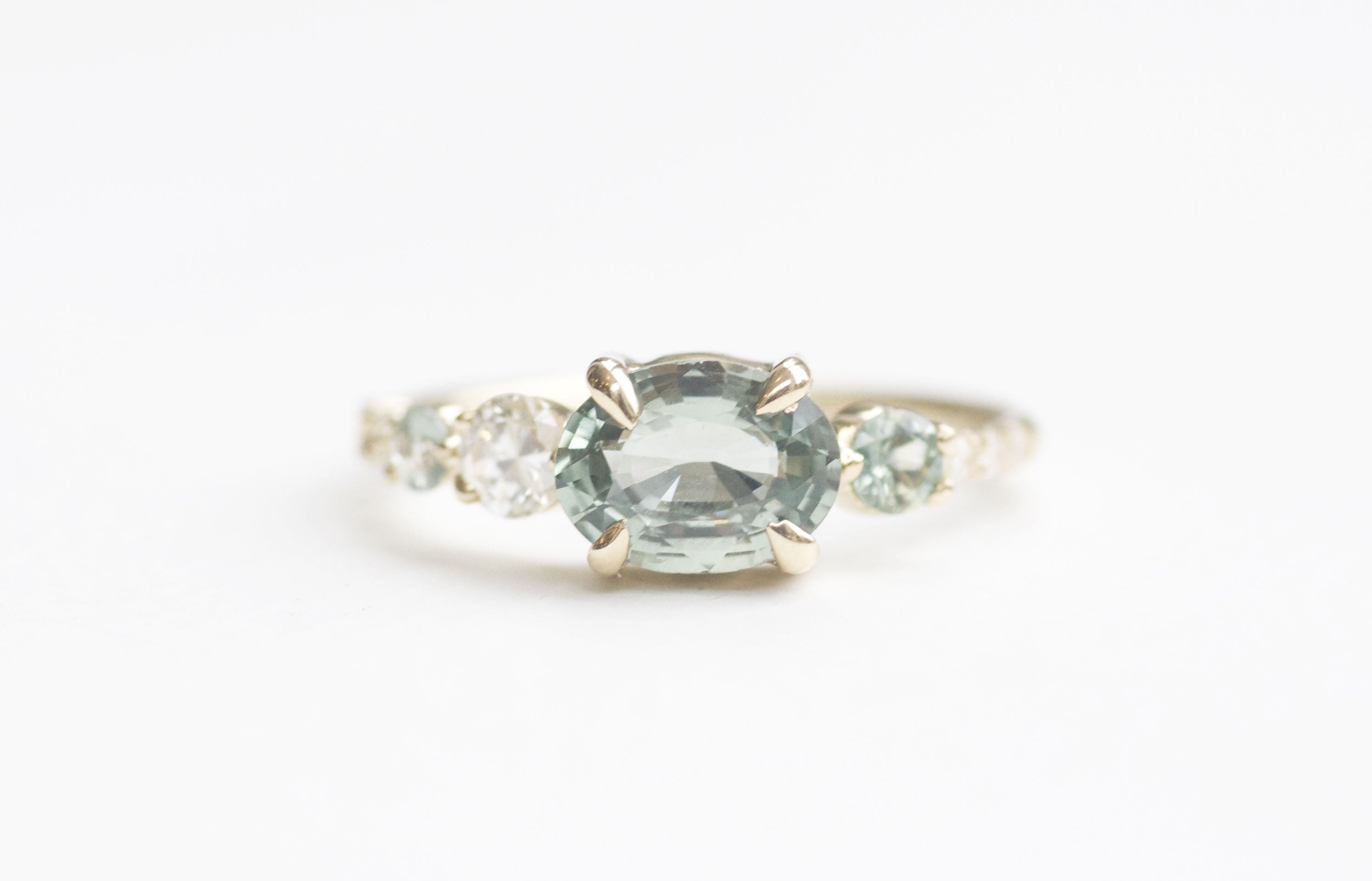 Light Green Bicolor Sapphire Line Cluster Ring Image