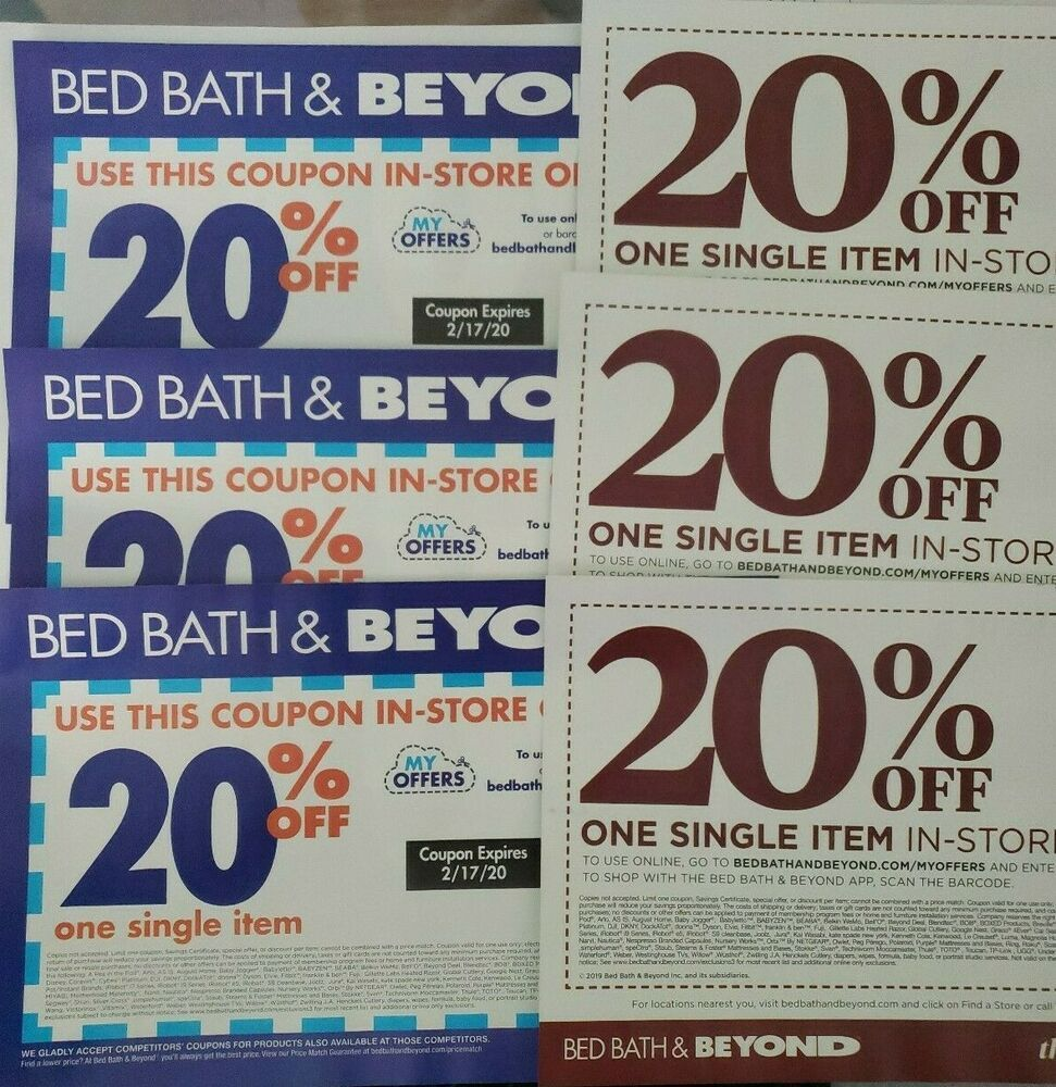 6 Bed Bath & Beyond 20 Off Coupons Expire 2/17/20