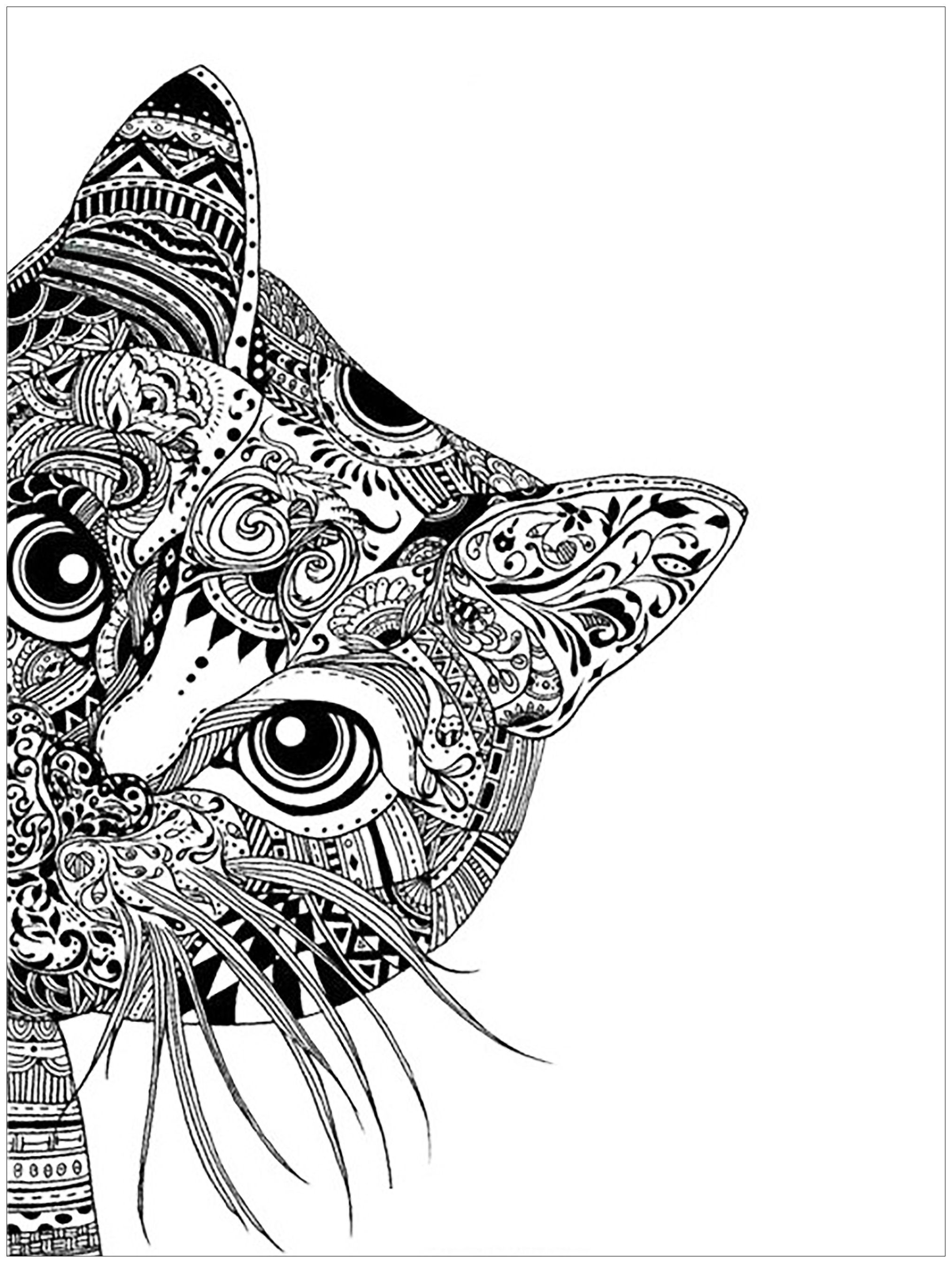 Here are Complex Coloring pages for adults of animals. Different ...