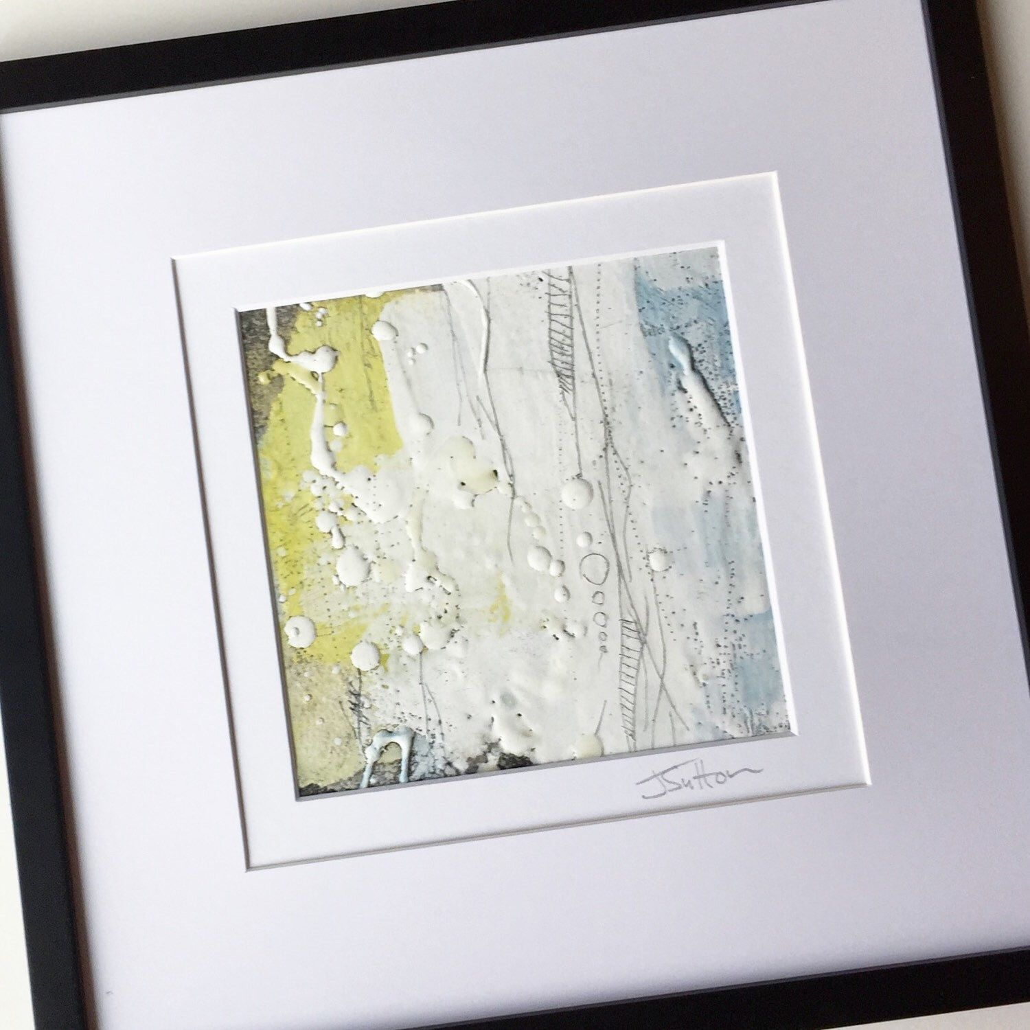 """I just got this little beauty back from my solo art show. It's a framed 6x6"""" abstract encaustic on paper. #style #visualarts #abstractart jsuttonstudio.com"""