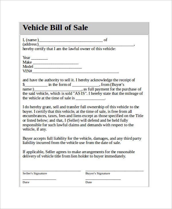 vehicle bill of sale template 14 free word pdf News to Go 3