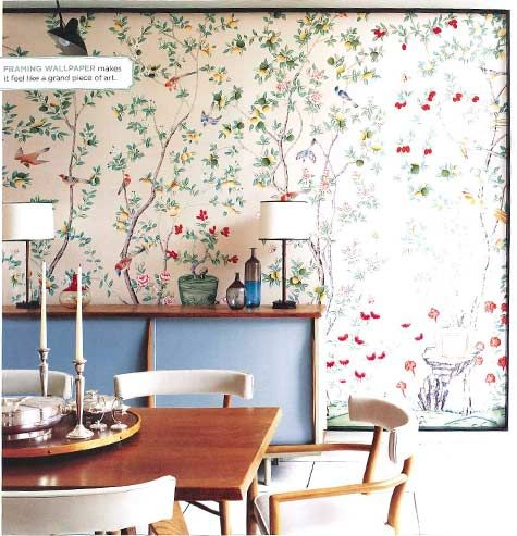 framed wallpaper - good idea: easy to uninstall if you change your mind, way cheaper than buying a whole room's worth of wallpaper.