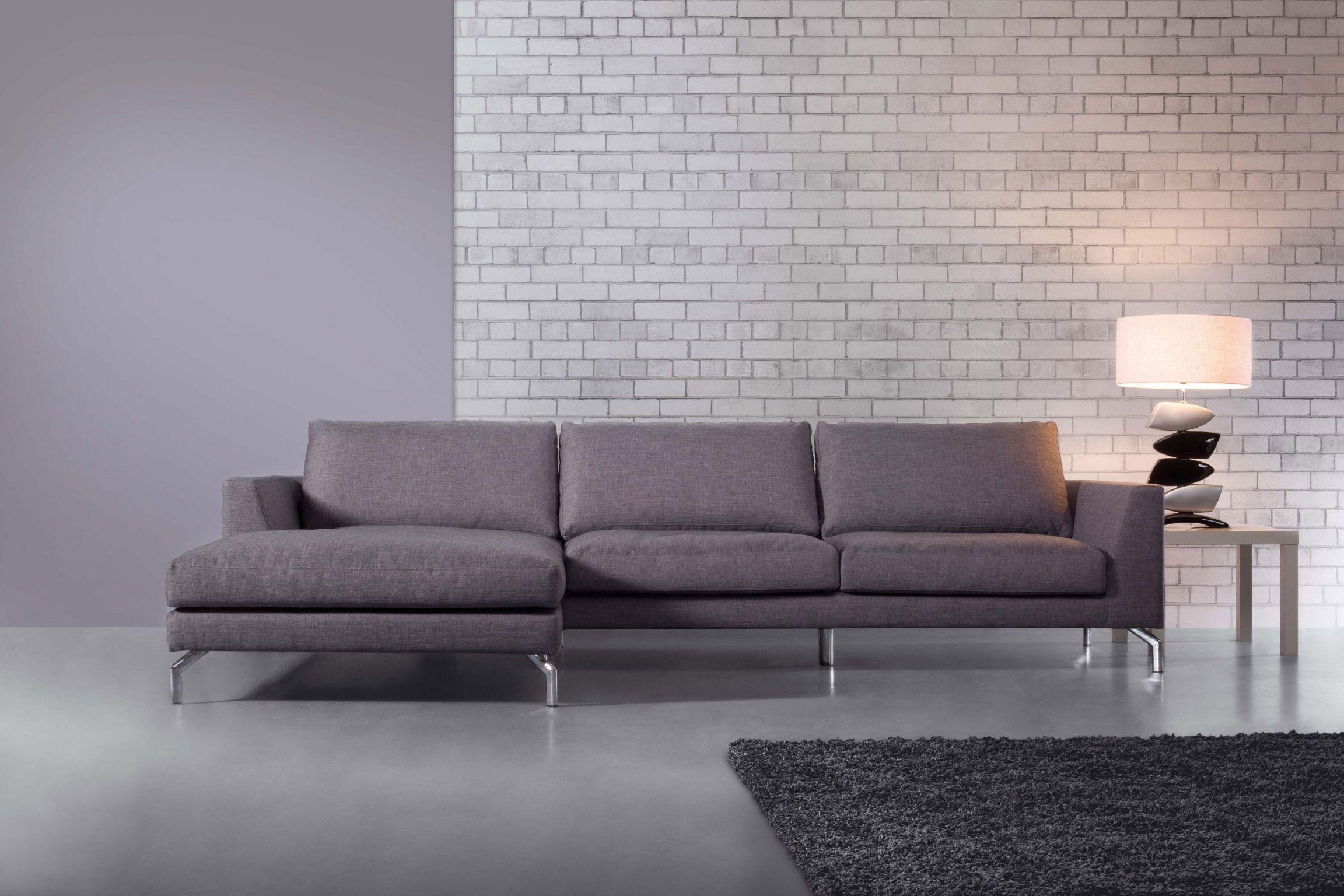 Ss1 Contemporary Chaise End Sofa Metal Legs Corner Sofa Living Room Corner Sofa Set Furniture